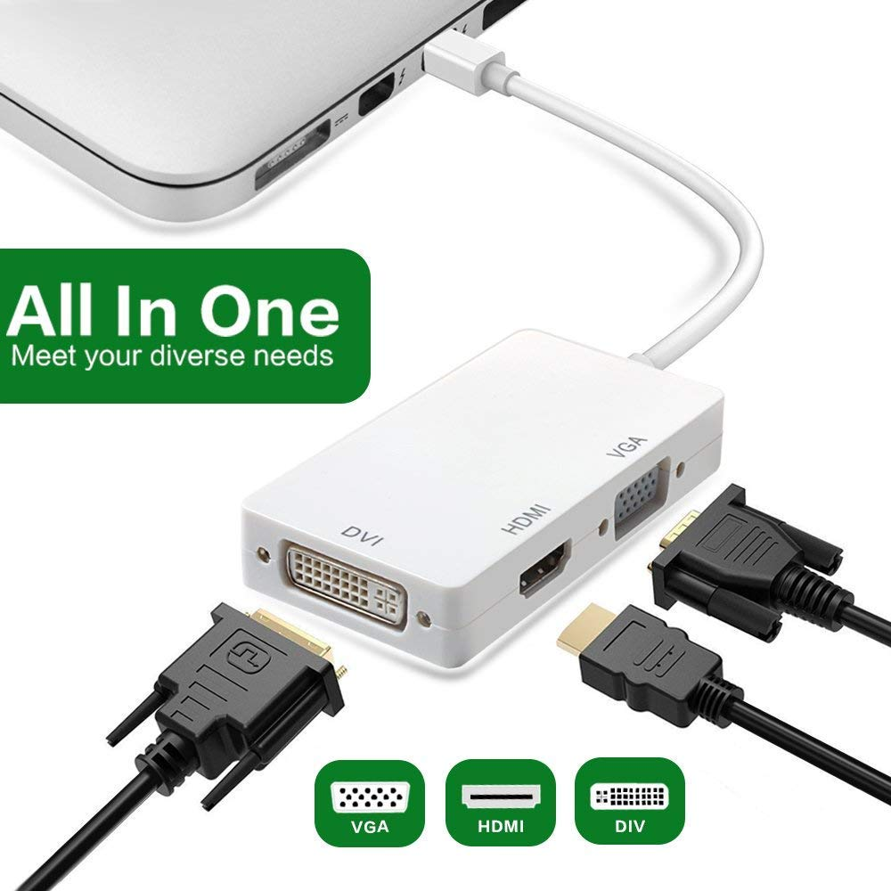 Mini DisplayPort to HDMI VGA DVI Adapter Full 1080P HD Thunderbolt Port Converter Compatible for MacBook Air Pro Surface Pro 3 4