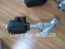 Бесплатная доставка ДУ25 Нержавеющая Сталь 1 »Пневматический Угол Седла Клапана С 50 мм Пластиковые Привод