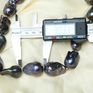 Image 5 - AAAAA באיכות גבוהה טבעי פנינה שחור הבארוק פרל שרשרת שרשרת קולר ארוך שרשרת 45/50/55 15  35MM עבור ילדה מתנת המפלגה