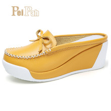 Купить с кэшбэком PEIPAH 2019 Summer Genuine Leather Women Platform Shoes Wedges Casual High Heels Shoes Women Creepers Female Pumps