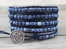 Boho 5 wrap bracelet gypsy Blue bead bracelet blue navy bead wrap bracelet natural stone Jewelry yoga jewelry