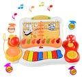 Teclado Musical de La Primera Infancia Educativos Historia Tocar el Piano Micrófono Fun Kids Niños Regalos Juguetes Del Bebé Niños de Aprendizaje