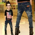 Free shipping 2016 Spring Newest Design 3-10 years old children jeans with hole denim boys jean with belt  B006