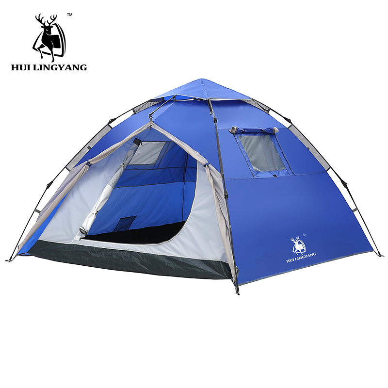 3-4 Person Outdoor tent 210*210*145cm Double Layer Camping Tents Hydraulic automatic Waterproof Large beach Hiking Tent газонокосилка gardena powermax 1600 37