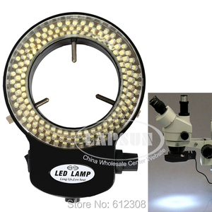 Image 4 - Regulowana lampa pierścieniowa LED 6500K 144 lampa oświetleniowa dla przemysłu mikroskop Stereo obiektyw powiększenie do aparatu 110V 240V Adapter