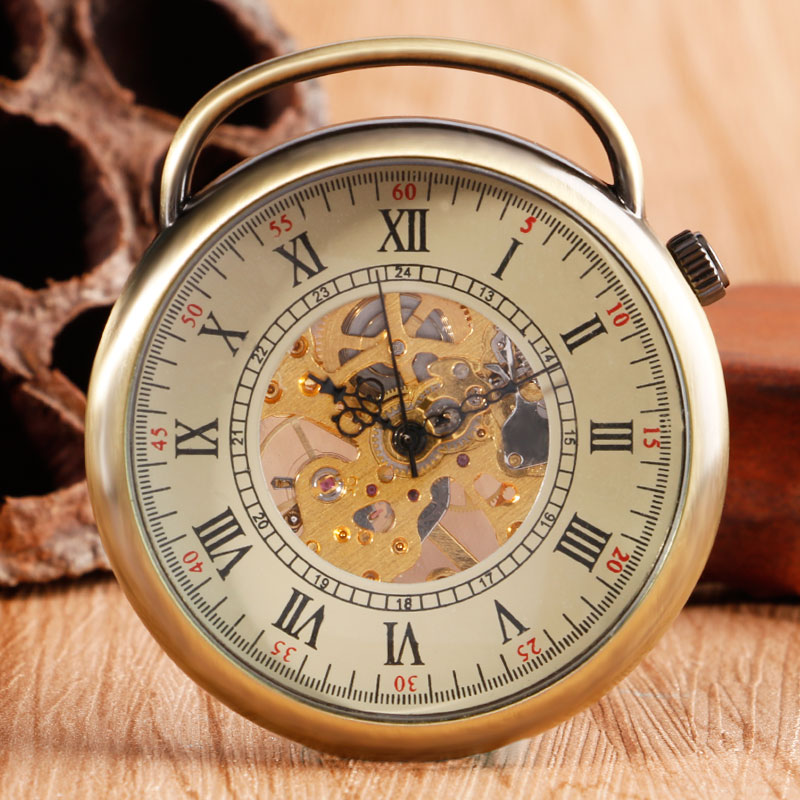 Vintage Open Face Bronze Steampunk Hand Winding Mechanical Pocket Watch Wind Up Chain Roman Numbers Women