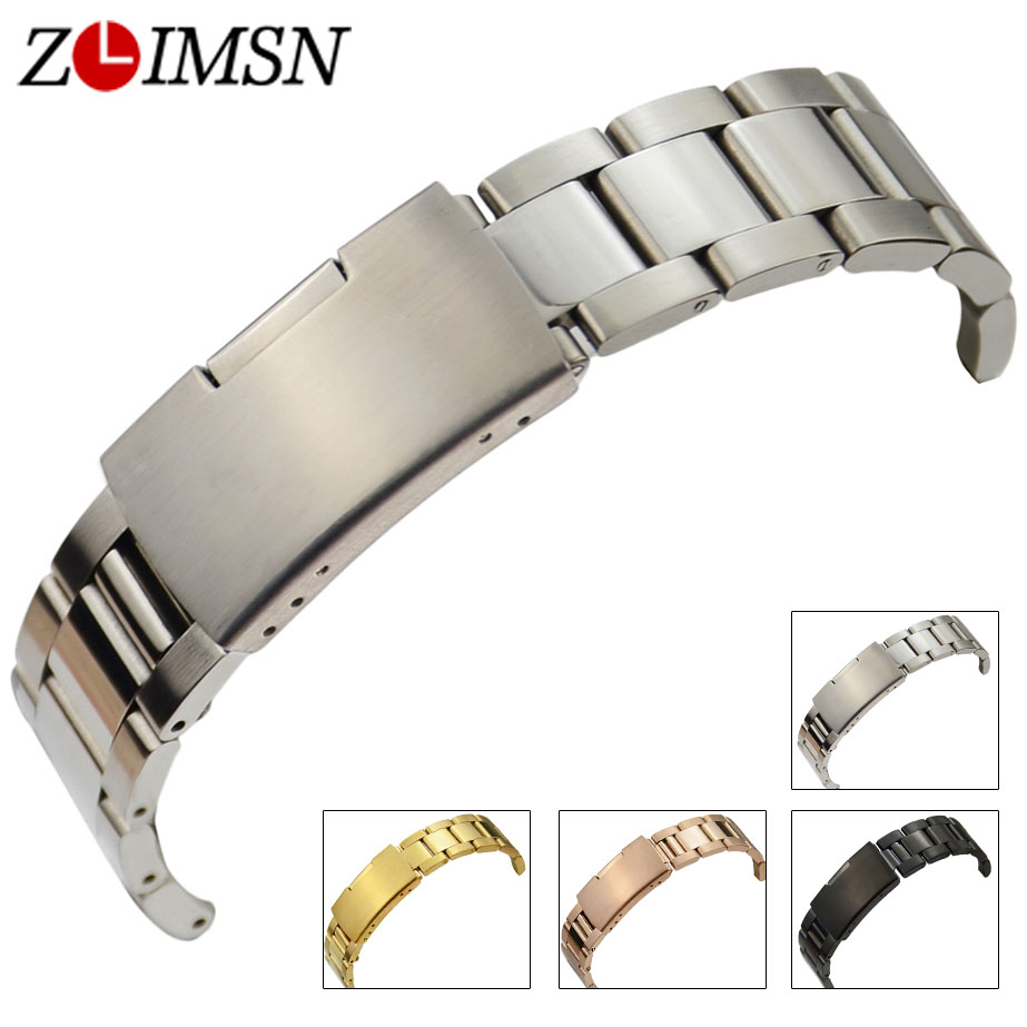 ZLIMSN Watchbands 18mm 30mm Mens Solid Stainless Steel Watch Band Strap Rose Gold Silver Black Women Bracelet Relojes Hombre S3 watchbands for garmin fenix3 smart watch black silver gold bracelet stainless steel metal watch band strap 26mm