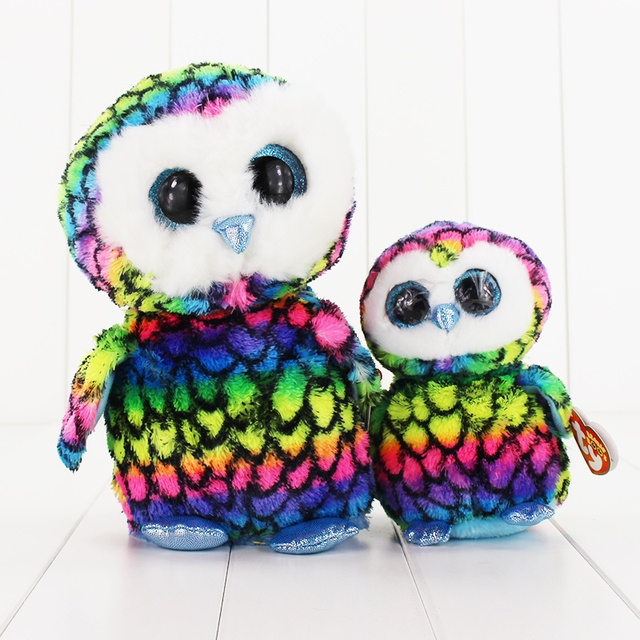 cf2e1d3185e 15 25cm Ty Beanie Boos Big Eyes Plush Toy Doll Multicolor Owl TY Baby Kids
