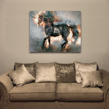 Laeacco Canvas Calligraphy Paintings on the Wall Artwork Chinese Running Horse Animal Posters and Prints Living Room Home Decor