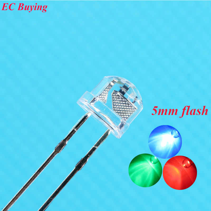 100 pcs 5mm wyczyść słomkowy kapelusz Multicolor migotanie RGB czerwony zielony niebieski miga 5mm LED dioda elektroluminescencyjna lampa DIY zestaw