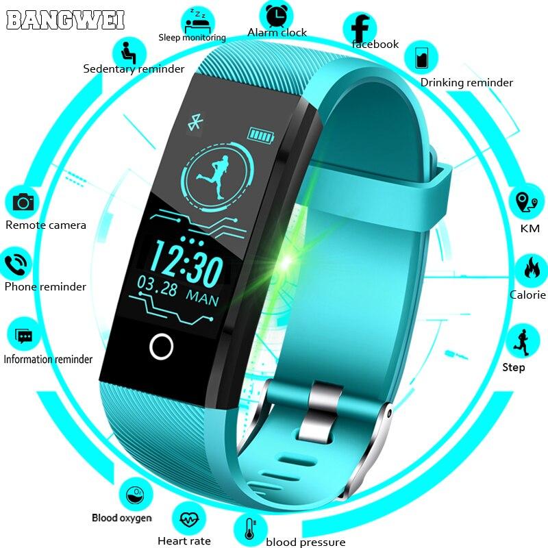 5947705dbda3 BANGWEI nuevo reloj inteligente hombres presión arterial Monitor de ritmo  cardíaco rastreador de Fitness las mujeres