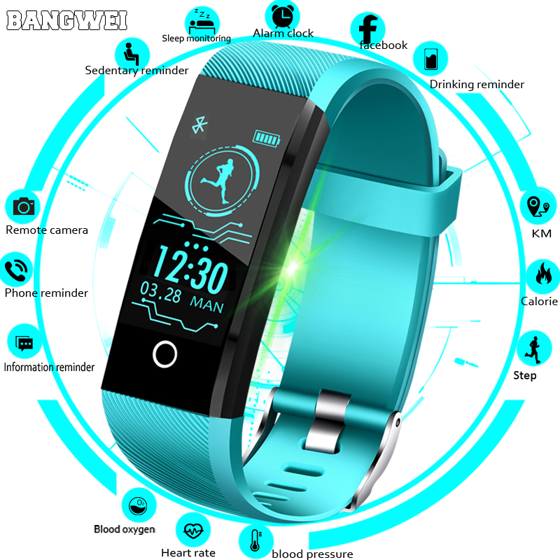 BANGWEI New font b Smart b font Watch Men Blood Pressure Heart Rate Monitor Fitness Tracker