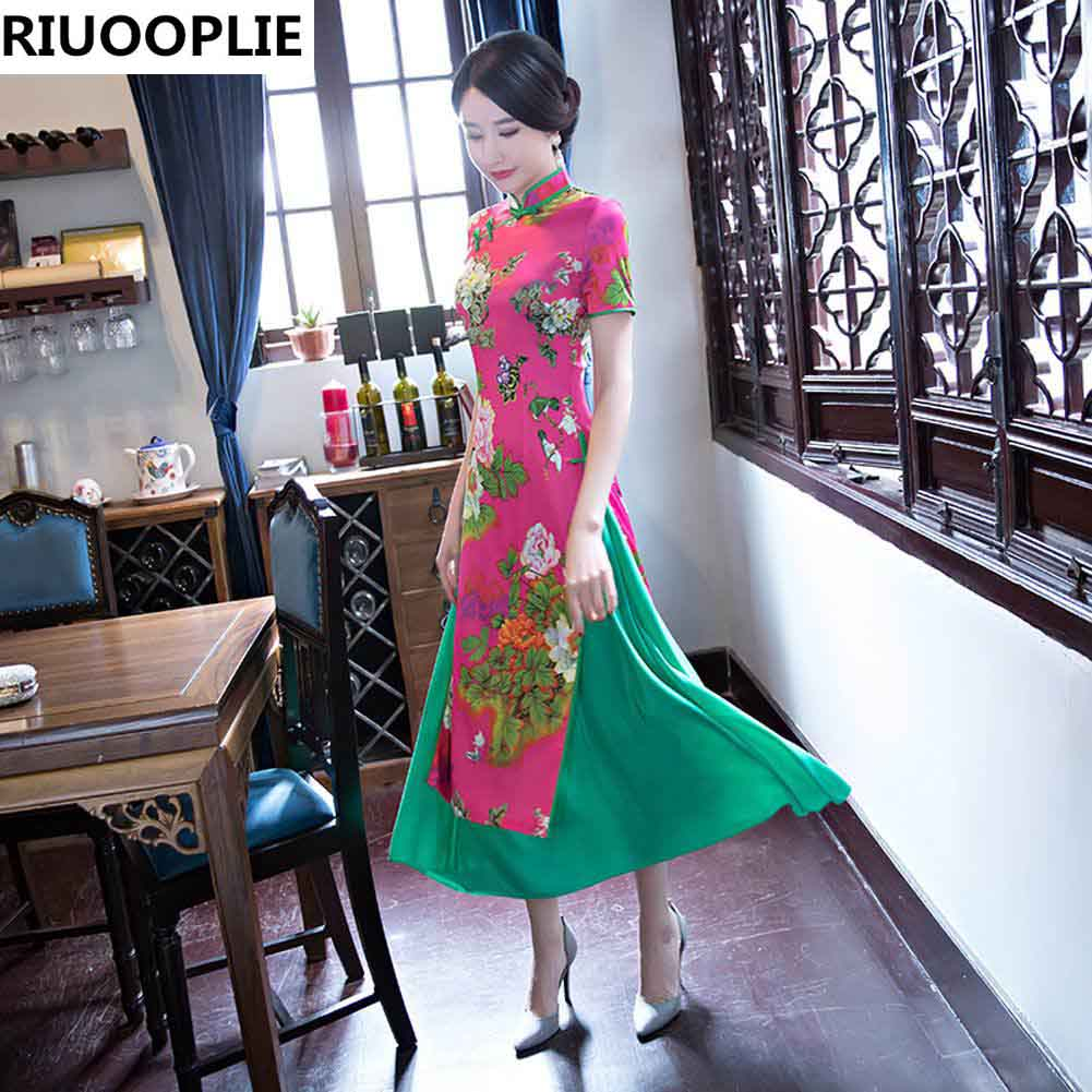 RIUOOPLIE Hinese Style Dress Femme Jupe Qipao Jacquard Robe De - Vêtements nationaux - Photo 4