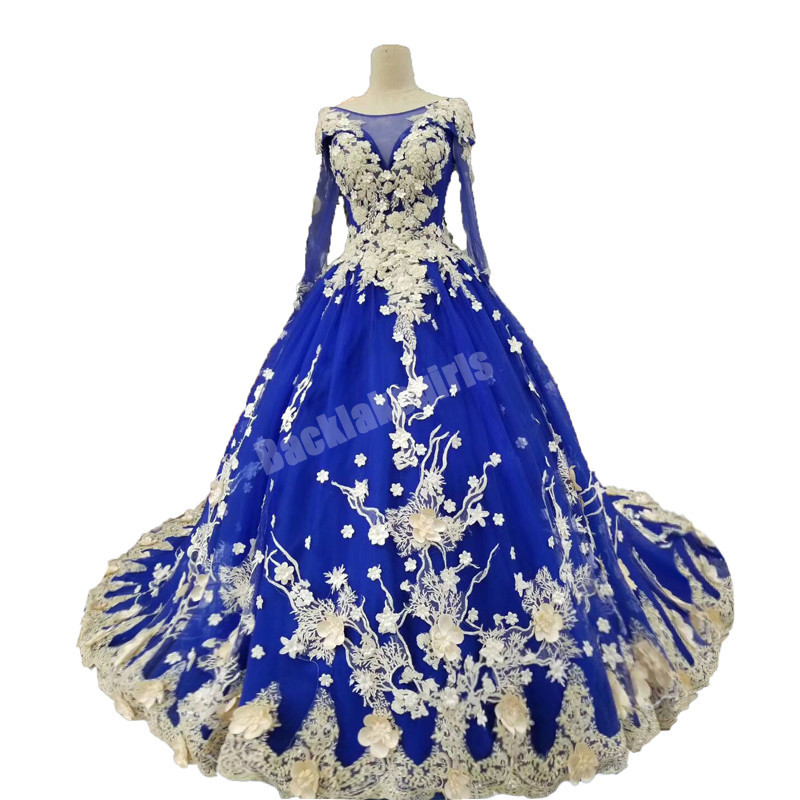 Backlakegirls Royal Blue Long Sleeves High End Lace Prom Ball Gown Beading Lace Robe De Soiree Evening Dress Real Photos Vestido
