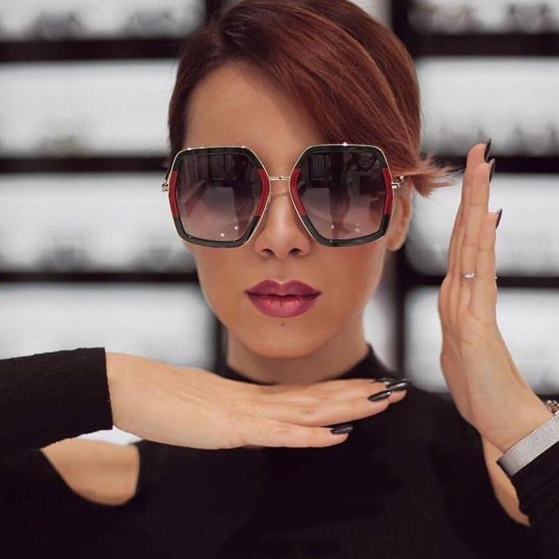 Quadrato di Lusso Occhiali Da Sole Del Progettista di Marca Delle Signore di Cristallo Oversize Occhiali Da Sole Donne Grande Cornice Occhiali Da Sole A Specchio Per La Femmina UV400
