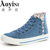 Classic New Breathable Shoes Woman Platform Canvas Shoes Women Thick Sole Casual Shoe Blue Zapatos Mujer
