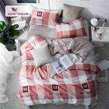 Slowdream Nordic Christmas Bedding Set Best Wishes Duvet Cover Double Bed Flat Sheet Adult Man Bedspread Fashion Bed Linen Set(China)