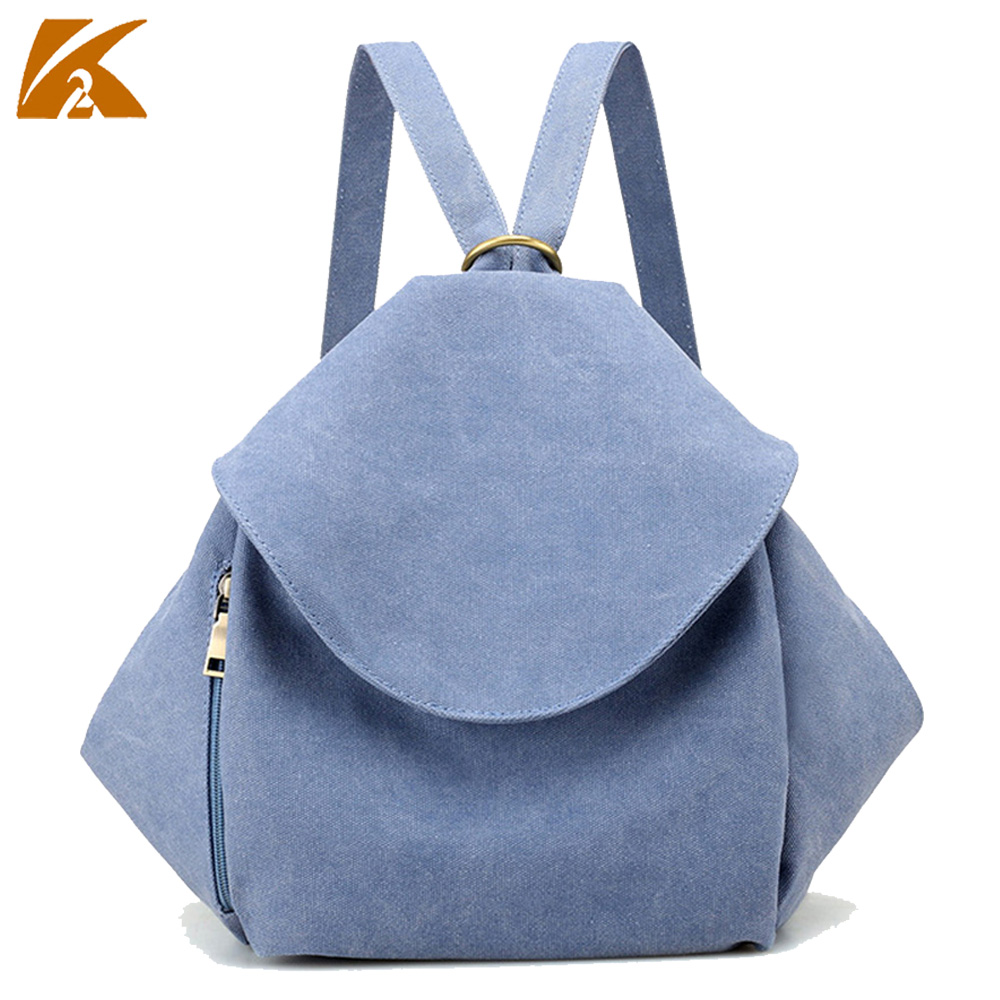 K-TWO hot sale women backpacks casual canvas bags ladies solid color small backpack new style women travel bag bolsas top-handle