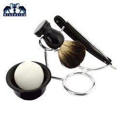 5в1 ZY 430 заточка для легкого бритья прямая бритва набор влажные товары для бритья кисточка для бритья из барсучьего волоса Бритва держатель