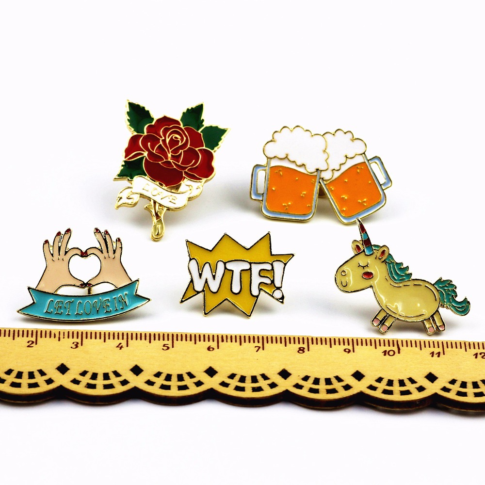 Timlee X223 Armsad loomad Unicorn Enamel Pin Love Hand Beer WTF Rose - Mood ehteid - Foto 6