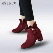 Plus Size 34-43 Square High Heels Women Boots Scrub PU Ankle Boots Short Plush Round Toe Black Western Style Zipper Ladies Boots стоимость