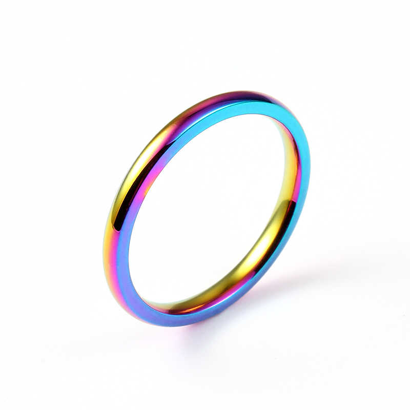 2mm Rainbow 316 Stainless Steel Ring for Men and Women