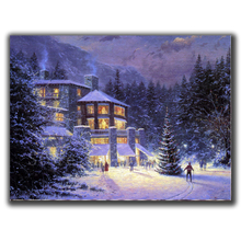 Diamond Mosaic Diy Embroidery Snowy House The Woods Night Full Painting Cross Stitch Rhinestone Home Decorations