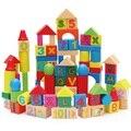 100 unids bebés niños de madera número de aprendizaje carta juguetes educativos Montessori geometría bloque juguetes temprano W074