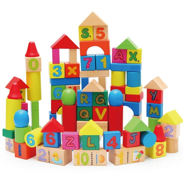 100PCS Baby Kids Wooden Number Letter Learning Educational Toy Montessori Geometry Block Early Toys W074 32 pcs setcolor changed diy jigsaw toys wooden children educational toys baby play tive junior tangram learning set
