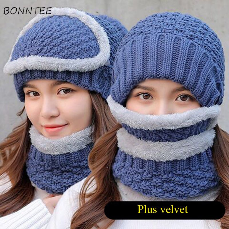 Winter Women Plus Velvet Warm Knitted Hat Scarf Mask Three Set Womens Cute Hairball Thickening Neck Protection Trendy All-match