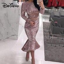 Женское блестящее платье с длинным рукавом, обтягивающие платья, Подиумные винтажные вечерние платья русалки, сексуальные платья средней длины, Vestdios Muje, лето 2019Платья    АлиЭкспресс