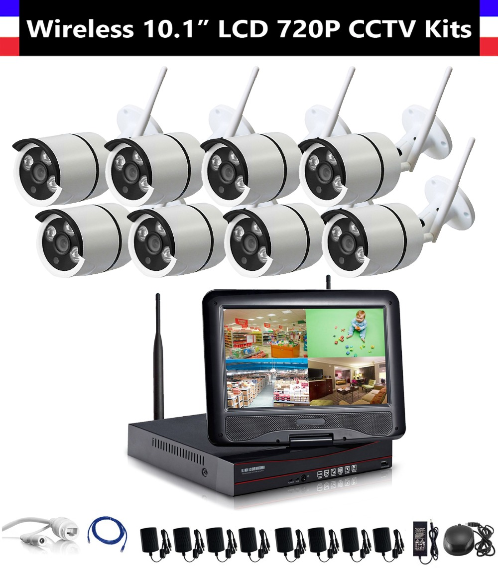 8CH 720P Wireless NVR 10.1 inch LCD Monitor with 8pcs 720P WiFi IR Night Vision Camera Home Security CCTV Surveillance Systems8CH 720P Wireless NVR 10.1 inch LCD Monitor with 8pcs 720P WiFi IR Night Vision Camera Home Security CCTV Surveillance Systems