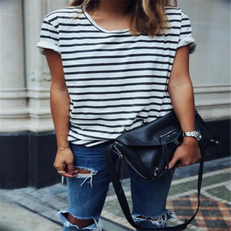 Fashion Women Ladies Casual Short Sleeve Loose Summer T-shirt Tops Shirt Striped Shirts