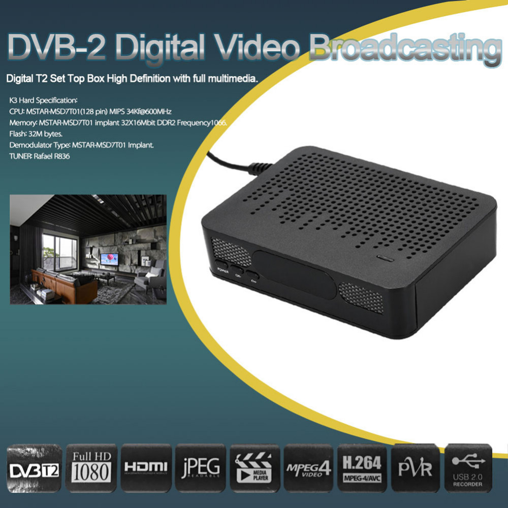 DVB-T2 Smart TV Set Top Box Digital Video Broadcasting Terrestrial Receiver Media Player HD 1080P H.264 MPEG4 Support 3D EU Plug brand new mini streambox m3c dvb c cable main chip hi3716mv330 linux system hd channels set top box for singpore media player