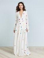 Boho Star Embroidery Maxi Dress 2019 Women Long Sleeve Vneck Black White Chic Dress Laides Elegant Beach Hippie Retro Long Dress