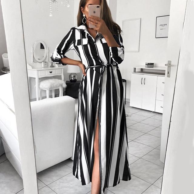 Leo Rosi Stripe Maxi Dress 2019 Office Lady Turn-Down Collar Button Long Shirt Dress Women Autumn Summer Long Sleeve Dress DT59
