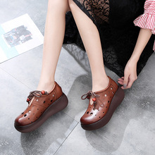 2019 Spring New Tide Womens Sandals Increased Breathable Handmade Vintage Leather Hole Shoes