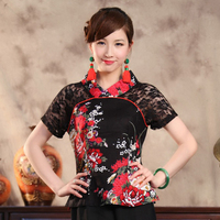 Marka Yeni Siyah Lady Pamuk Keten Gömlek Yaz Kısa Kollu Dantel bluz Çin Çiçek Giyim Boyutu Sml XL XXL XXXL TS002