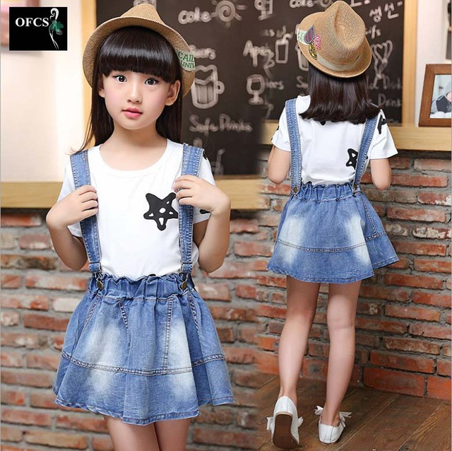 Retail!1 Pcs Top Quality Spring Summer Girl Strap Denim Skirts Casual Skirts Fashion Mini Skirts Lovely Fashion Skirts 5-15 Year