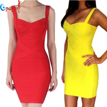 2017 New Women Sexy Spaghetti Strap Rayon HL Elastic Celebrity Bandage Dress Bodycon Mini Club Party Dresses Drop Ship HL8675