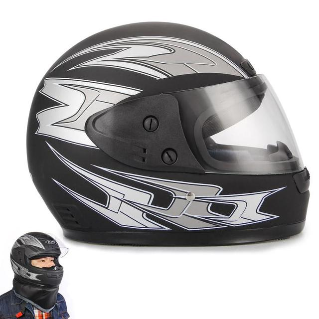 Winter Warm Motorcycle Helmets Balck Full Face with Bib Adjustable Size 55cm-60cm Capacete Casque Motocross Helmet