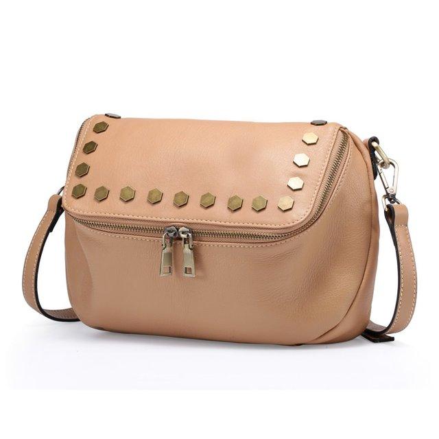 2017 NEW Italian Real Genuine Leather Ladies Handbag Rivets The Women's Messenger Bags for Women Cross Body Bag Satchel Purse
