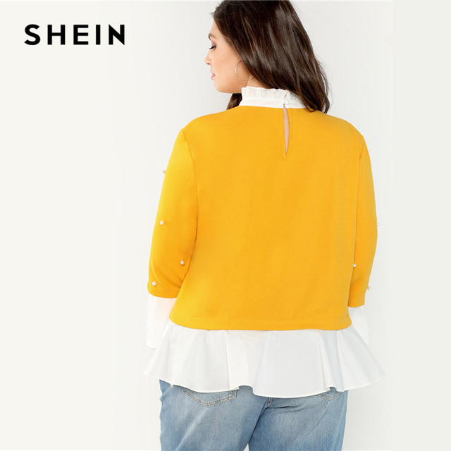 SHEIN Pearl Beaded Ruffle Stand Collar Butterfly Sleeve Ginger Plus Size Womens Blouse 2018 Patchwork Ruffle Hem Autumn Blouse 1