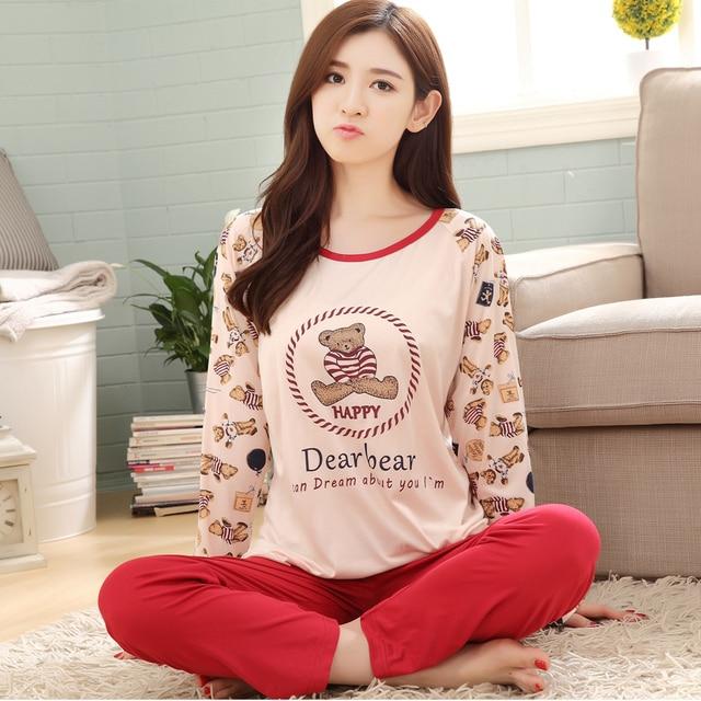 c67ba48ab9 Pijama de Dibujos Animados Oso Pijamas Para Mujer de Manga Larga Pijamas  Pijamas para Mujer femme