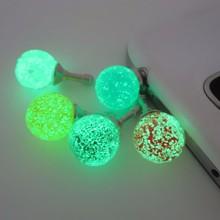 Круглые цветные стразы, светящиеся пылезащитные заглушки для мобильного телефона 3,5 мм, разъем для наушников, Универсальные наушники, пылезащитная крышка, 1 шт