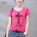New Style In God We Trust believe T-shirt Funny Christian T Shirt Women Short Sleeve Top Tees