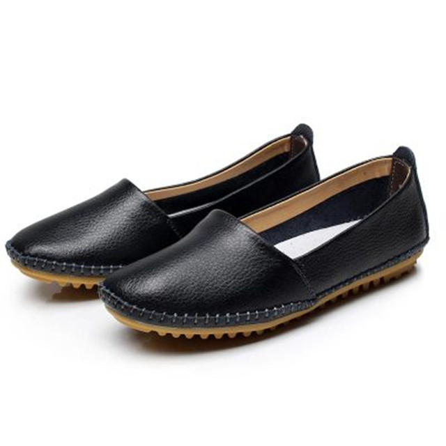 New 2016 Women Genuine Leather Shoes Women Flats Fashion Casual Women Shoes Slip On Women Loafer Flats Shoes Zapatos Mujer#SJL32