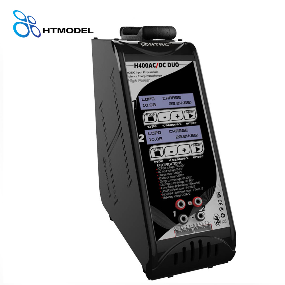 HTRC H400 DUO Dual Port Vertical Balance Charger Discharger AC/DC 200W*2 10A*2 for 1-6s Lilon/LiPo/LiFe LiHV Battery skyrc d200 intelligent twin channel lcd ac dc high power dual balance charger discharger with soldering iron
