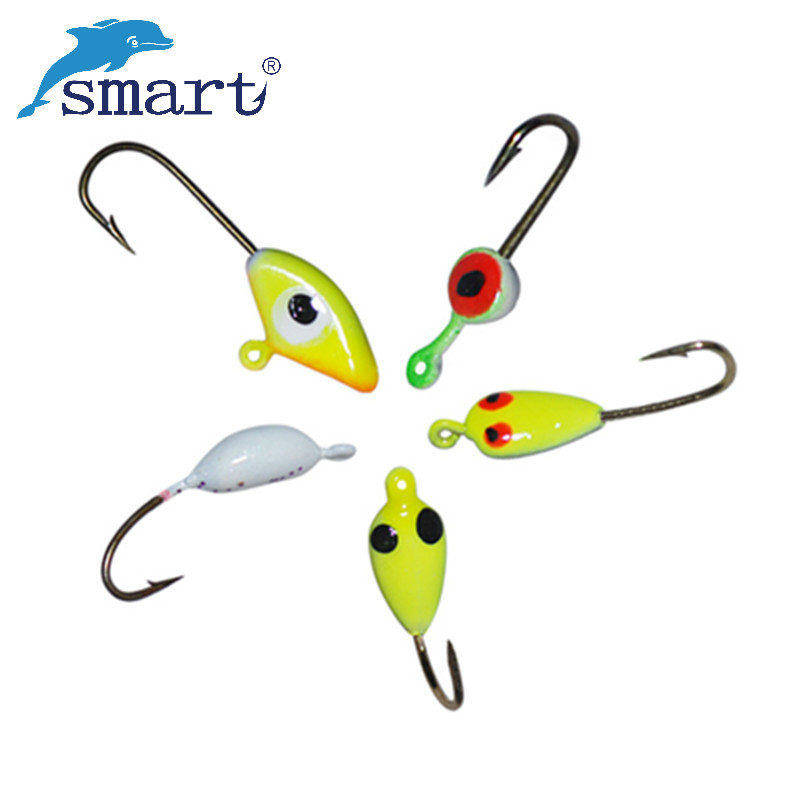 20pcs ice fishing lure 19 20 21mm lead ice jig with hooks for Ice fishing hooks