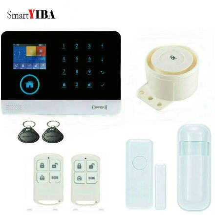 SmartYIBA RFID APP Control&SMS Arm/Disarm Wireless GSM Alarm System WIFI Alarmes Wired Siren Alert Door Motion Sensor Alarm secual box v2 etiger wifi alarm system gsm safety alarm system with rfid reading keypad arm disarm alarm system